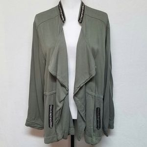 Signature Studio Army Green Bead Open Front Jacket
